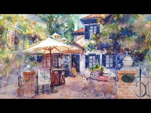 "Watercolor Painting Landscape  ""Orandakan""  -Tutorial with Narration 水彩画の描き方・風景画"