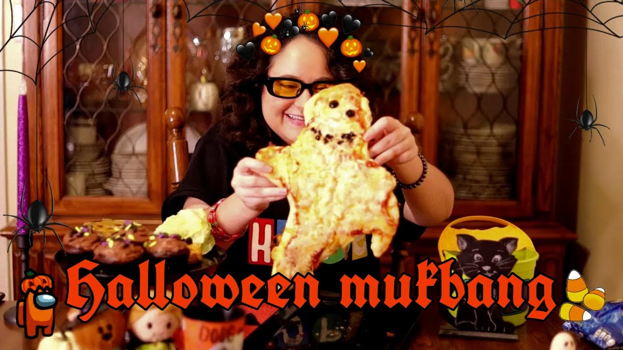 🎃HALLOWEEN MUKBANG👻(Ghost Pizza, Jack O'Lantern Burger, Zombie Takis, Bugs on Cupcakes)🕷️
