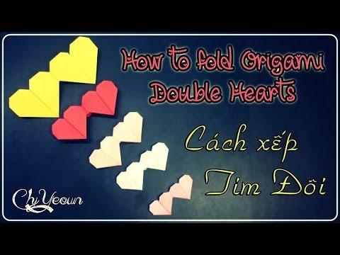[HD] Cách xếp TRÁI TIM ĐÔI ♥ How to fold Origami Double Hearts