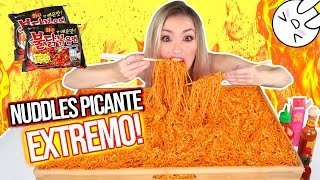 NUCLEAR FIRE NOODLES CHALLENGE 🔥 MUKBANG | RETO PICANTE EXTREMO! | Katie Angel