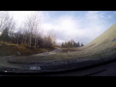 civic ride in an abandoned asbestos mining town ( ghost town )