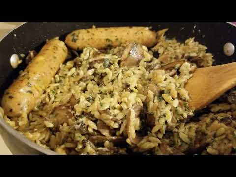 Feta Spinach Chicken Sausage with Mushrooms and Orzo