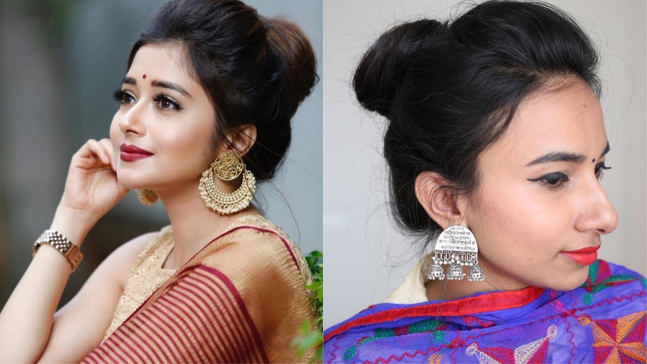 Easy Bun Hairstyle For Saree Anarkali Lehenga Party Updo For Medium Long Hair Tina Dutta Inspired