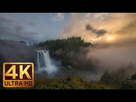 2 HRS Relaxation Video of Snoqualmie Falls in WA State in 4K with Nature Sounds