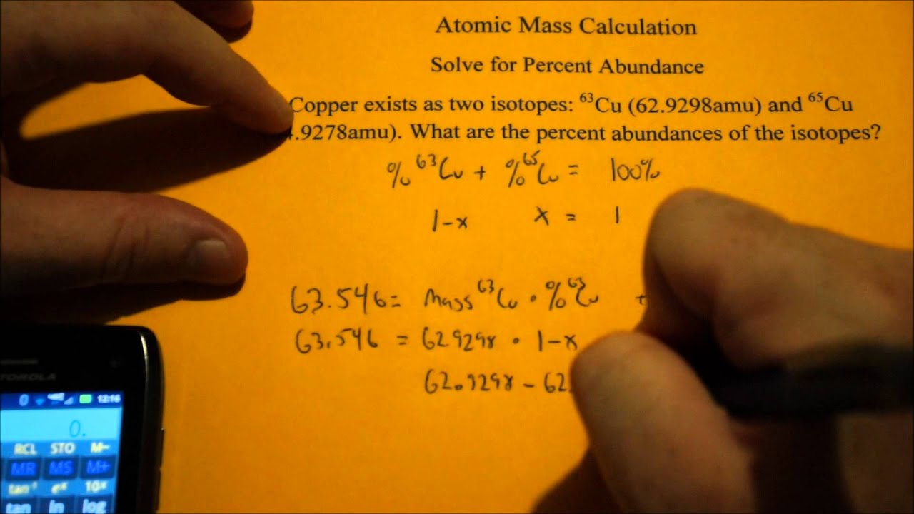 Calculating Isotope Abundance Using Atomic Mass Youtube
