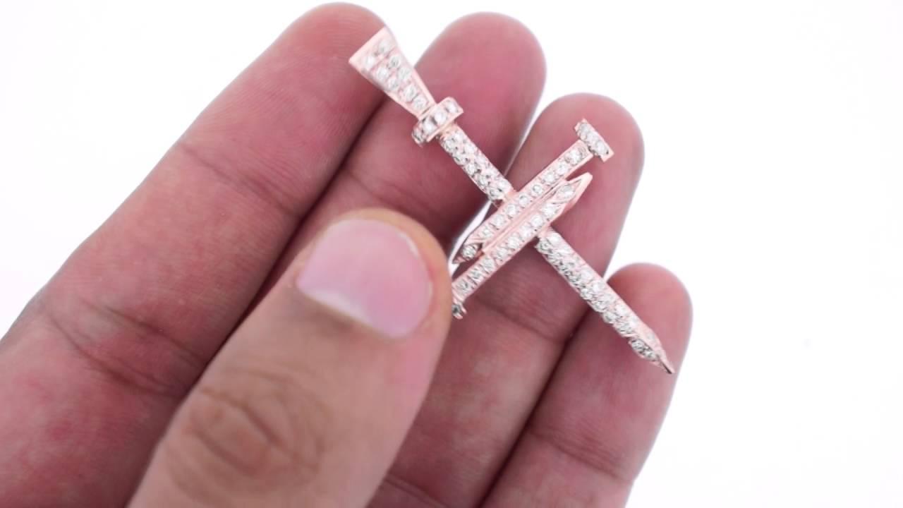 cbfb06670fa0 Mens Nail Cross pendant 10k Solid Yellow Gold 8 Grams 1.09 Carat Diamonds