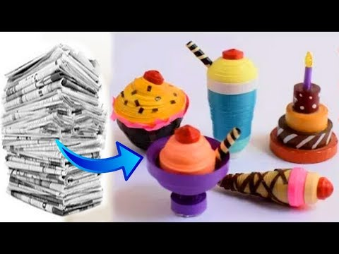 DIY: How to Make Newspaper 3D Cupcake, Ice-cream, Cake //अख़बार के  कागज की मिठाई बनाना सीखे |
