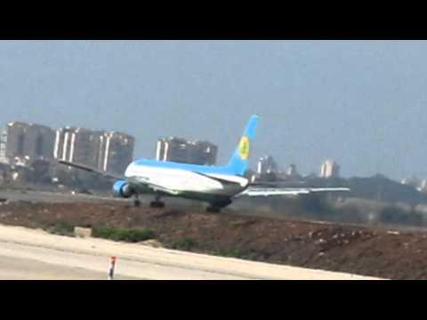 Uzbekistan AirwaysBoeing 763 taking off at Bengurion airport-Israel