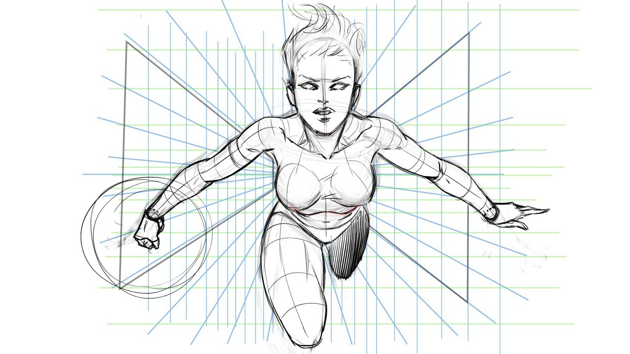 How To Draw A Dynamic Comic Book Pose Using A Perspective Grid