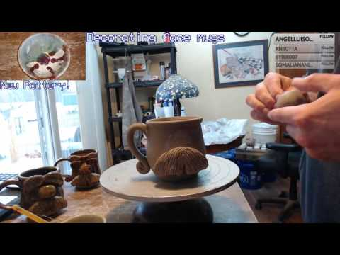 Sculpting a hairy hippy face mug - T Pottery Studio