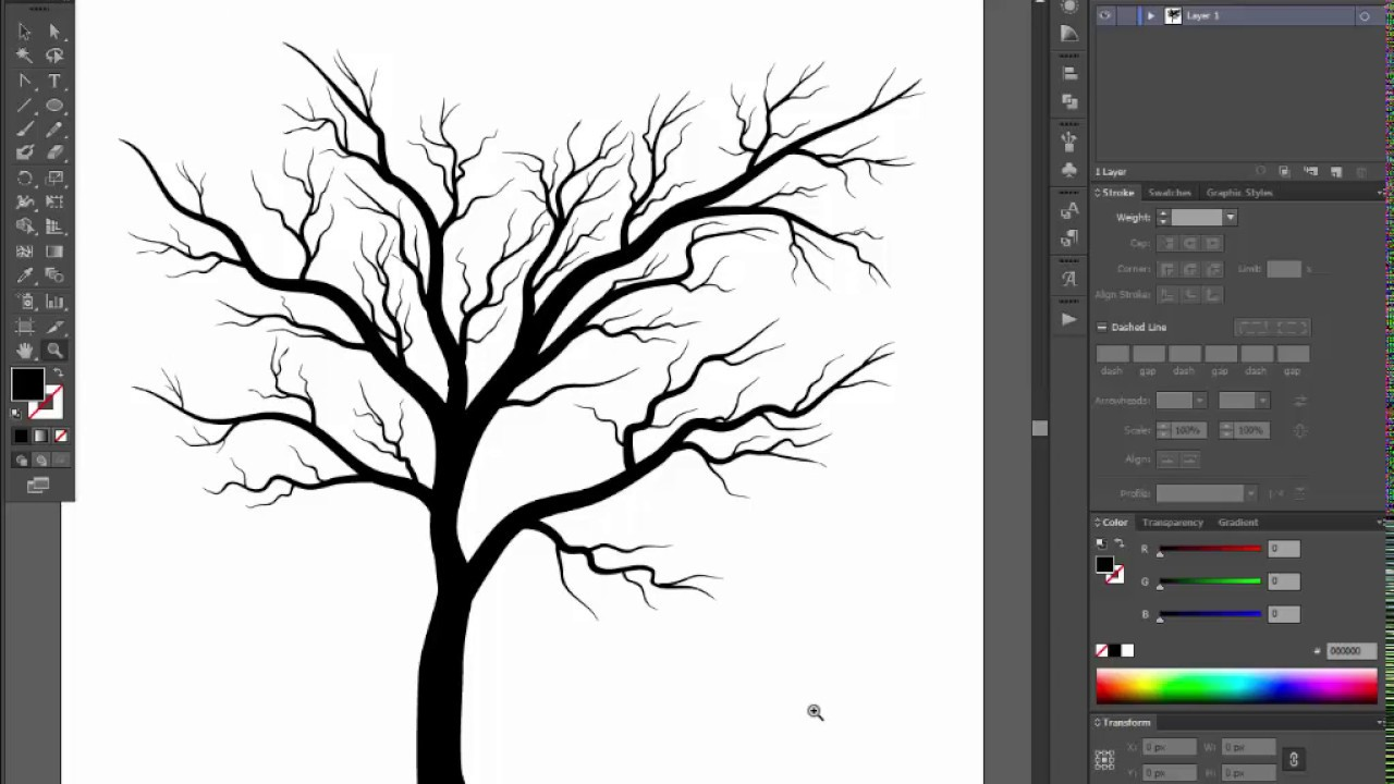 Bare Tree Adobe Illustrator Cs6 Tutorial Quick And Easy Way