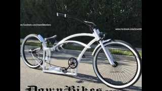 Stretch Beach Cruiser Bicycles custom made air ride suspension. Order your DownBikes