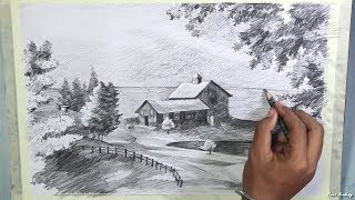 How to Draw A Beautiful Scenery in Pencil | step by step pencil drawing techniques
