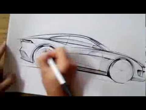 온스케치 Tv Car Sketch Jaguar Coupe Side View Sketch Bic Ballpen