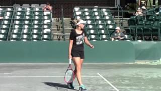 Sabine Lisicki Practices Serve at Charleston