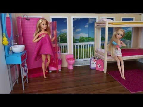 Two Barbie Sisters Rapunzel doll Bunk Bed Bedroom Morning Routine. Dress up Barbie princess dolls