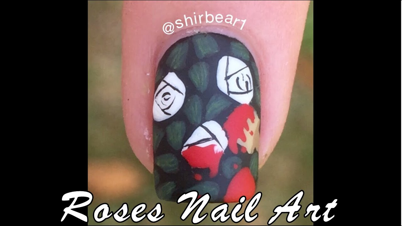 Alice in Wonderland Nail Art Tutorial - Roses - YouTube