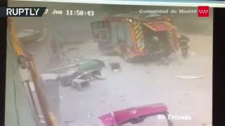Moment of blast at chemical factory in Spain captured on CCTV, 30 people injured