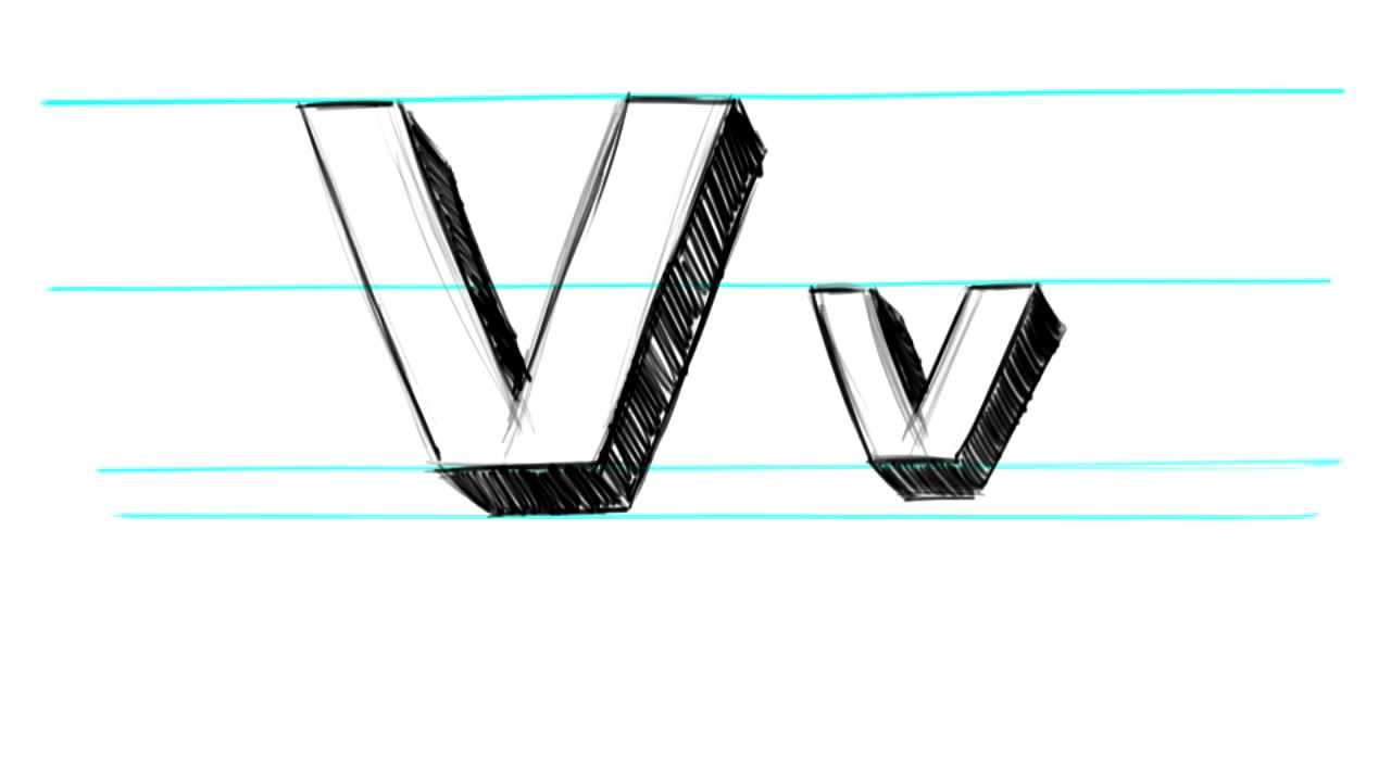 how to draw 3d letters v uppercase v and lowercase v in 90 seconds youtube