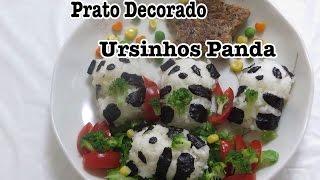 Ursinhos Panda: Prato Decorado # oniguiri # bento # make # lunch box # japao #babyanninhainjapan