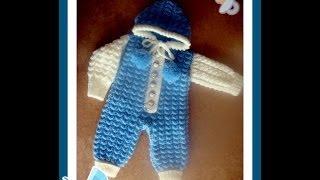 Комбинезон для малыша спицами. Часть 2. Jumpsuit for baby knitting
