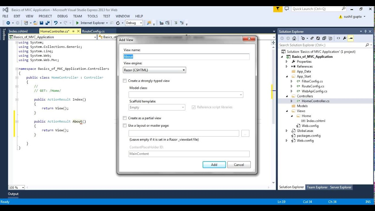 Basics of MVC with redirection to another view in VS 2013