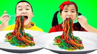Colorful Colored Noodles Song | Nursery Rhymes & Kids Songs | Jannie Sing-Along Pretend Play