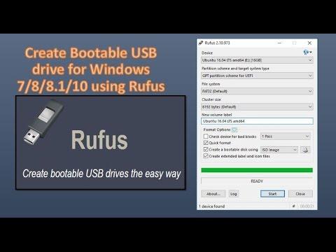 Create Bootable USB drive for Windows 7/8/8.1/10 using Rufus