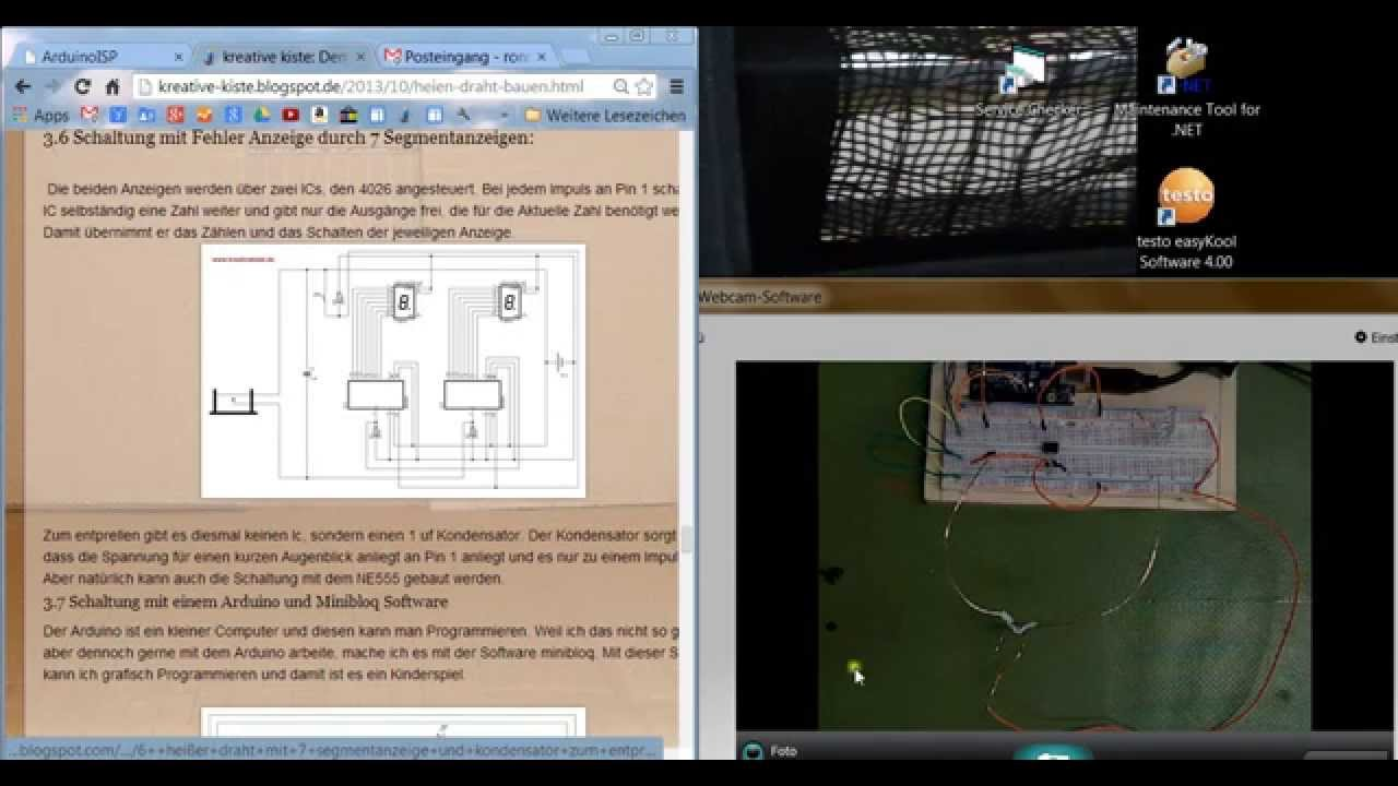 Heißer Draht tutorial teil 11, mit attiny 45 AVR microcontroller ...