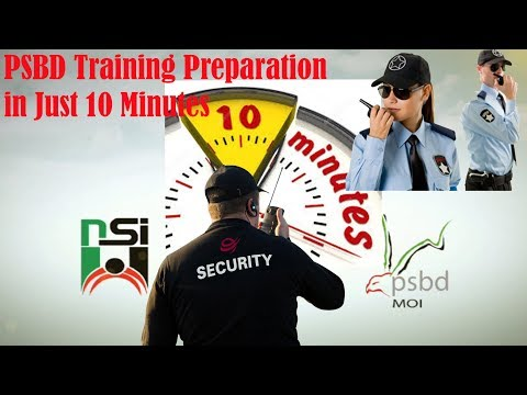 PSBD or PSCOD Security Guard - 10 minutes Training Course