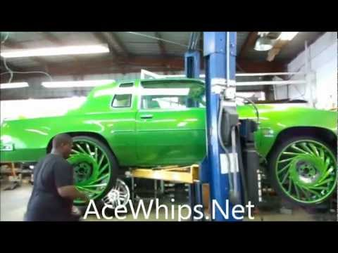 """AceWhips.NET- ARCTIC Customs- Slime-Green Oldsmobile Cutlass on 28"""" VF602 ASANTIS"""