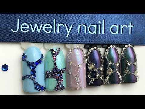 How To Supersecure Gems And Caviar Beads  Jewelry Nail Art Tutorial