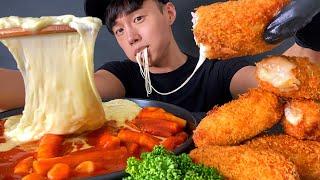 ASMR MUKBANG 치즈 돈까스 + 신전떡볶이 먹방…