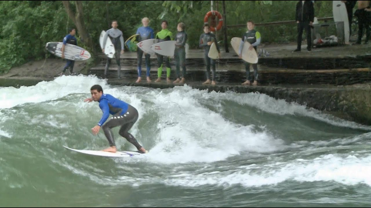 Surfing a Creek in Munich with Gabriel Medina and Adriano de Souza