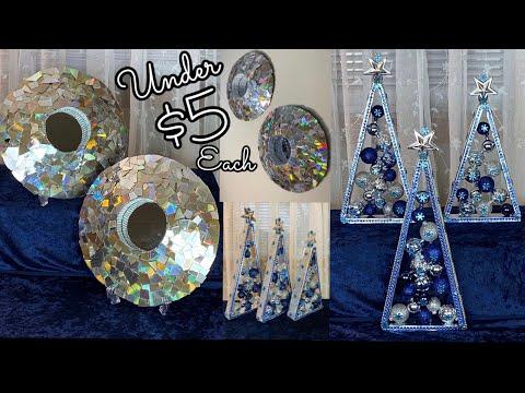 Dollar Tree DIY 2' Holiday Gift Ideas Under $5 Each Glam Mosaic Wall Decor & Glam Holiday Trees 2019