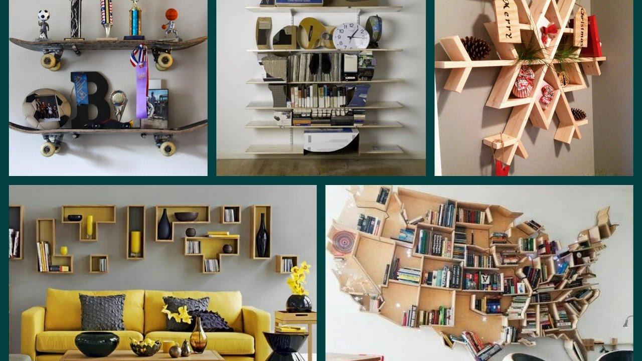 40 New Creative Shelves Ideas - DIY Home Decor - YouTube on Creative Living Room Wall Decor Ideas  id=48878