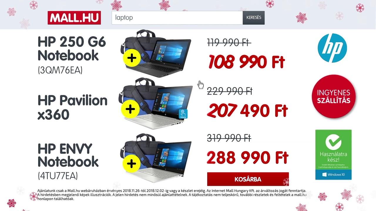 80fb0ae4c6 MALL.HU Karácsonyi ajánlatok- HP Notebook akciók - YouTube