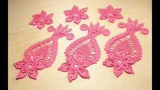 Урок вязания крючком ажурного мотива ЦВЕТОК С АНАНАСОМ crochet irish lace