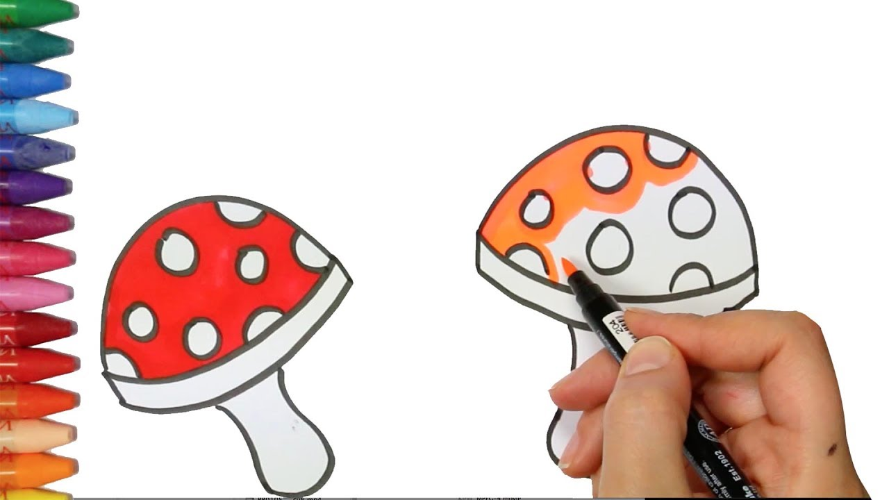 Art For Kids How To Draw And Color Mushroom How To Draw And