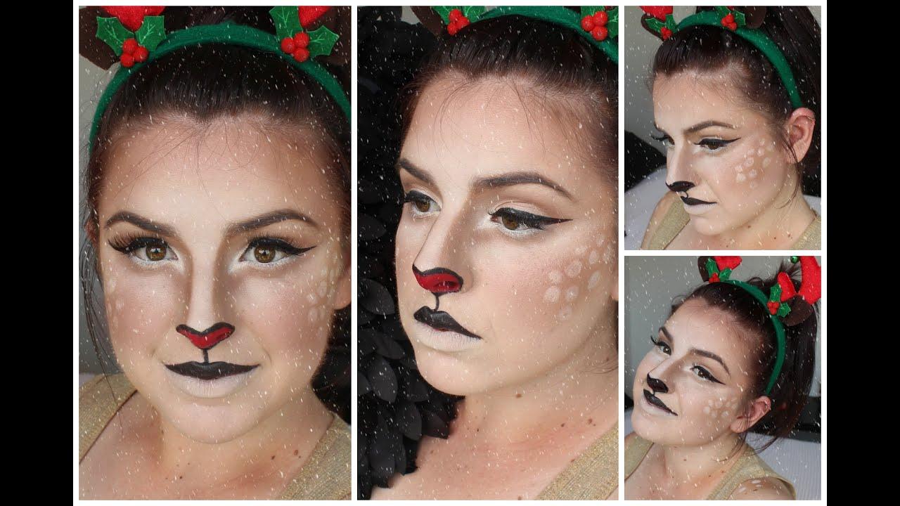 Cute rudolph christmas reindeer regular bambi deer makeup cute rudolph christmas reindeer regular bambi deer makeup tutorial youtube baditri Choice Image