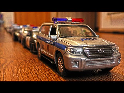 Police Cars for Kids Driving and Forming in Line