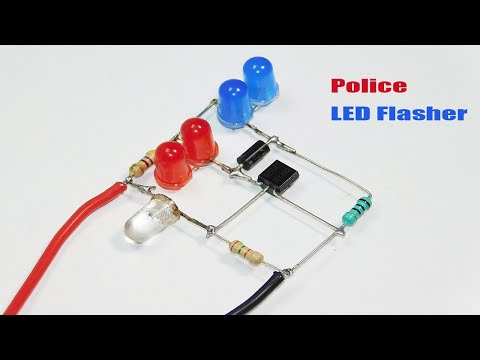 Simple Police LED Flasher Circuit Using One Transistor