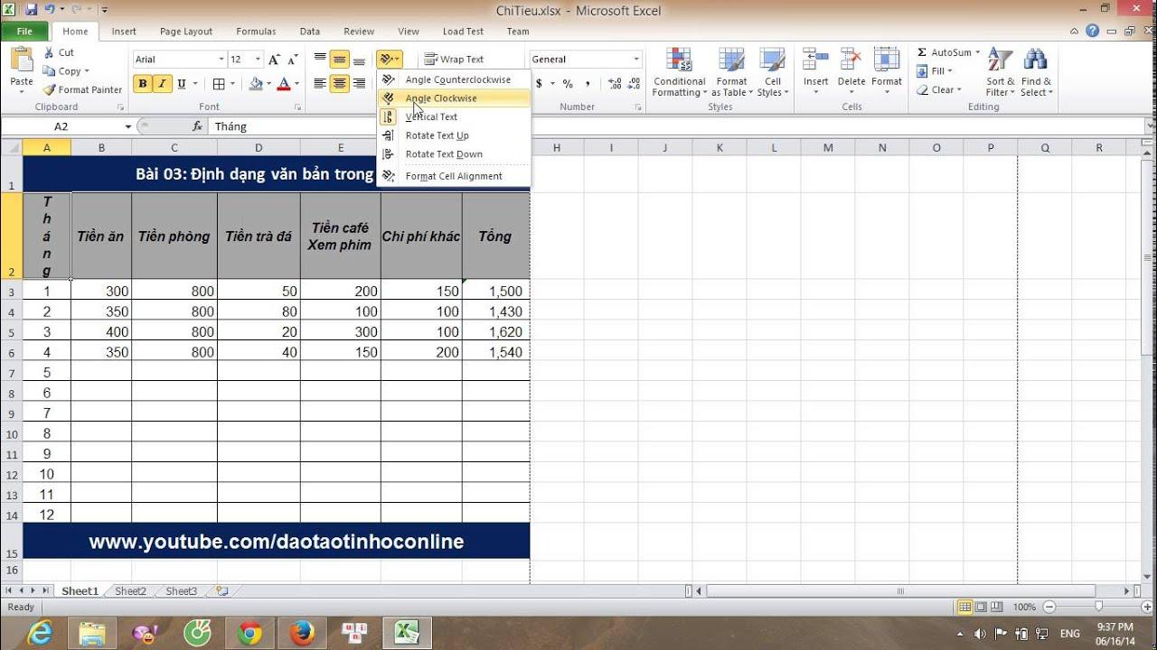 Hướng dẫn sử dụng excel cơ bản: Định dạng văn bản trong Excel