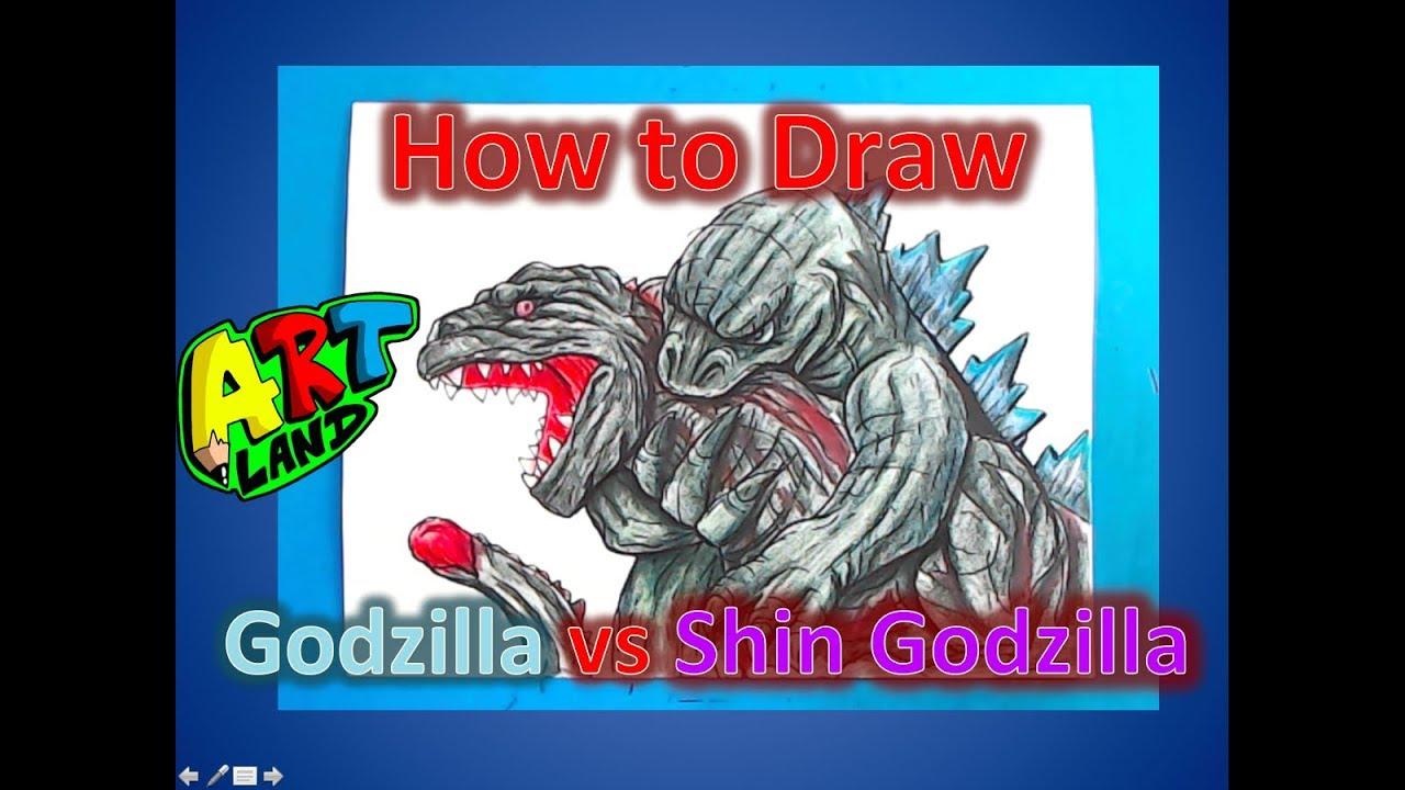 How To Draw Godzilla Vs Shin Godzilla Youtube