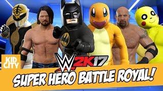 WWE 2K17 Super Heroes Battle Royal with LEGO BATMAN, Power Rangers & Pokemon | KIDCITY
