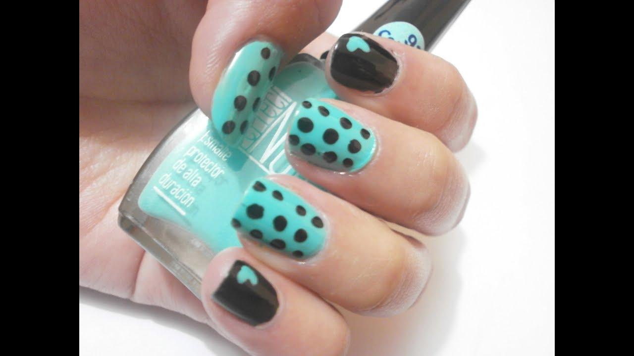 Diseño de uñas. Puntos y Corazones. Negro y Menta - YouTube