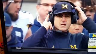 Michigan Coach Jim Harbaugh Breaks Headset, Gets Flag, Ohio score easy TD.