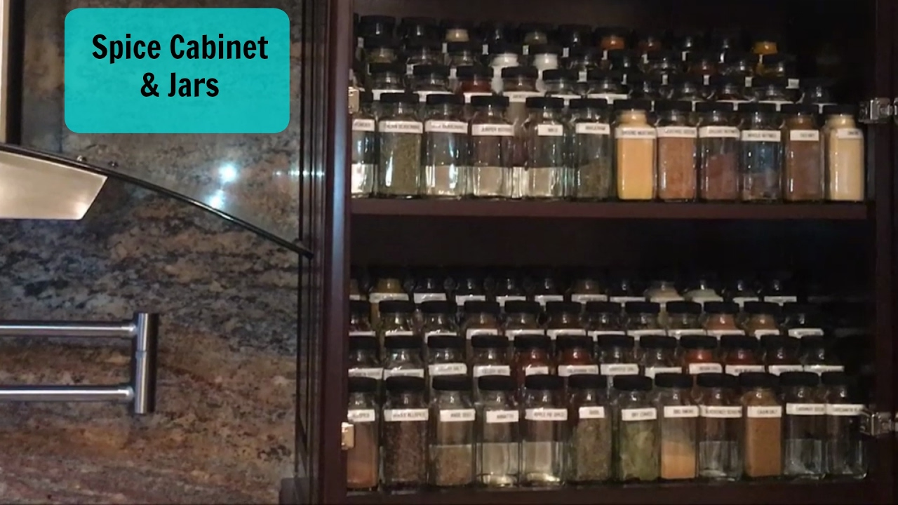 Home Organization | Spice Cabinet | French Style Spice Jars
