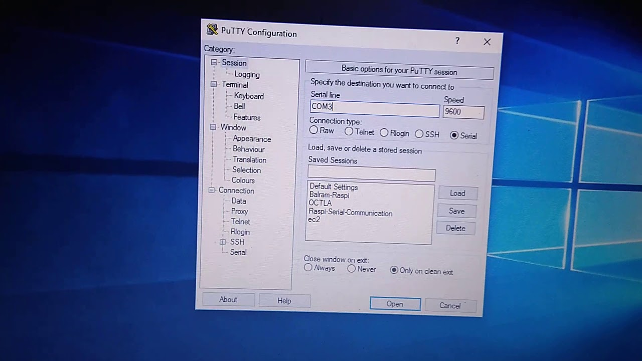 Serial port communication between Raspberry Pi 3 and Windows 10