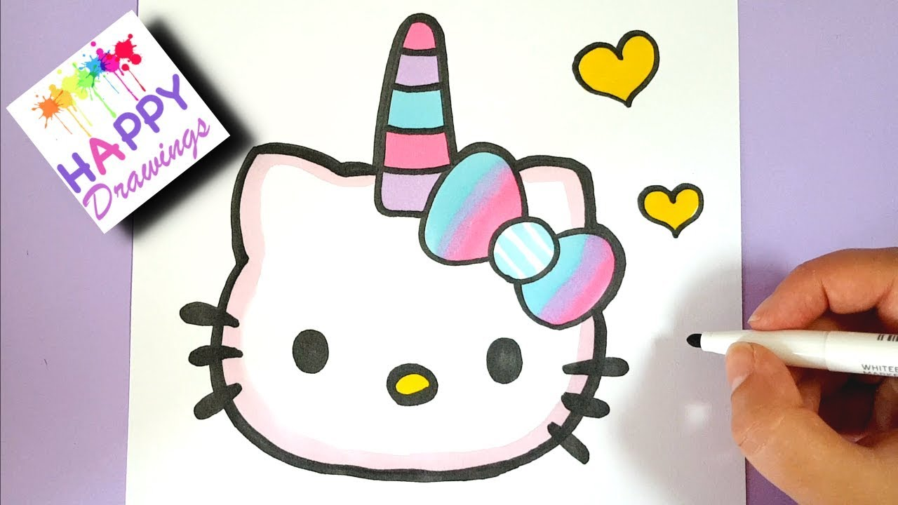 HOW TO DRAW CUTE UNICORN HELLO KITTY EMOJI EASY - YouTube